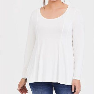Torrid 2X 3X Top Tee White Fit & Flare Long Sleeve